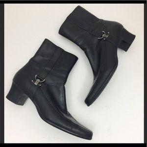 Anne Klein Verdi Black Leather Ankle Boots